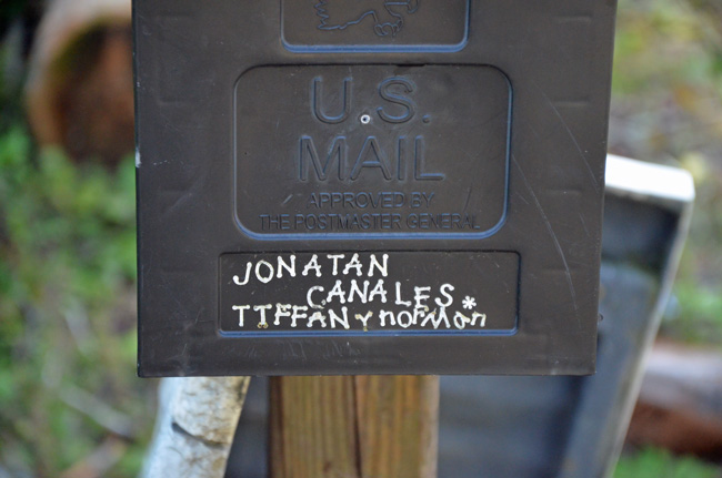 The couple's mailbox at their Cherry Lane home in the Mondex. (© FlaglerLive)