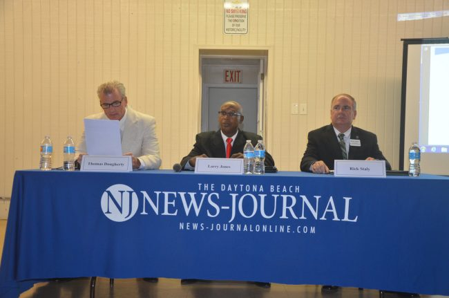 The candidates: from left, Thomas Dougherty, Larry Jones and Rick Staly. (© FlaglerLive)