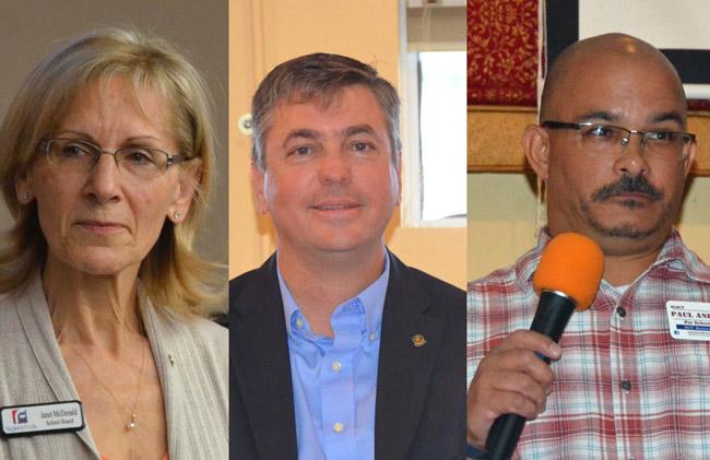 From left, Janet McDonald, Trevor Tucker and Paul Anderson. (© FlaglerLive)