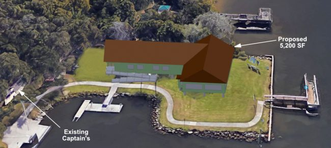 A rendering by the Hammock Community Association of the footprint of the proposed Captain's. Click on the image for larger view.