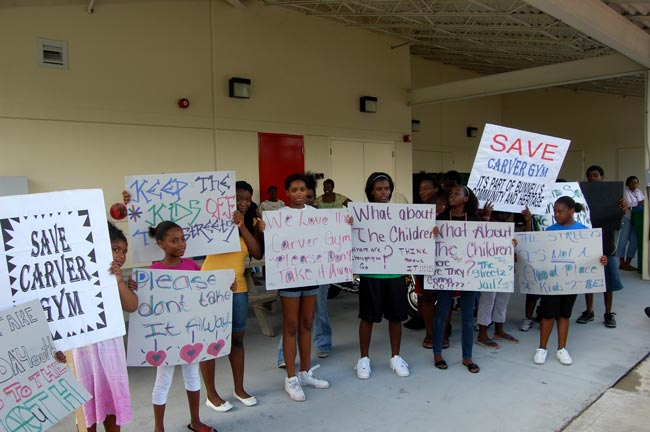 carver gym protest county commision closure