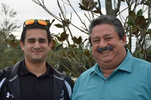 Curtis Ceballos, right, and his son Ryan, who with Gabrielle Ceballos founded TALKiT. Click on the image for larger view. (© FlaglerLive)