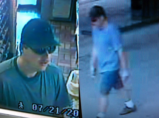 Two security screen shots of the Celico Way Shell station suspect. Click on the image for larger view.