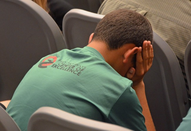 It was difficult for members in the audience, especially members of the Pro Sports Pathways academy, to follow the school board's meanderings toward a decision on the fate of the Belle Terre Swim and Racquet Club Tuesday evening. (© FlaglerLive)
