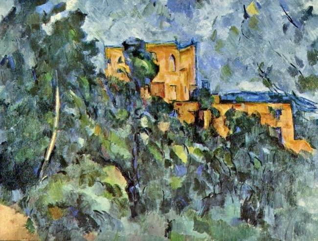 """From WikiArt: On a hillside near the Bibémus quarry stood an old country house known as the Château Noir (whose name—the """"black manor""""—may relate to a previous exterior color). Cézanne began to paint in the area around 1900, finding numerous motifs in the dense woods on the grounds of the estate, for example: Trees and Rocks in the Park of the Château Noir, c. 1904. The house, in its decrepit isolation, inspired some of the artist's most foreboding images. The eerie structure seen in Château Noir, 1900–1904, seemingly in ruins, is half-hidden behind pines that, like the rocks of Bibémus, almost obstruct the sky. Cézanne's saturated palette—dark greens, blues and ochers—makes the scene all the more powerful. The somber, enclosed spaces of the paintings of the Château Noir and the Bibémus quarry count among his most emotionally profound pictures and are indicative of a decided melancholy that pervades Cézanne's work in his last decade. By this time, suffering from diabetes, the artist had become obsessed with the reality of his own mortality. Click on the art for larger view."""