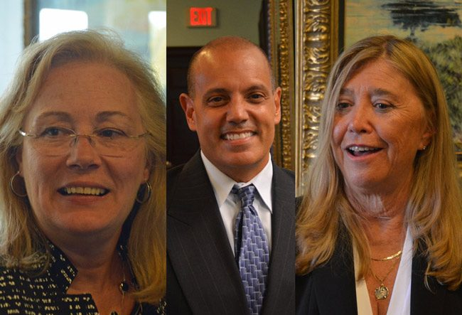 In a meet-and-greet Friday, the Flagler County Chamber of Commerce introduced the community to its three short-listed candidates to take over the presidency of the chamber. They are, from left, Tresa Calfee, Jorge Guitterez, and Louise Murtagh. (© FlaglerLive)