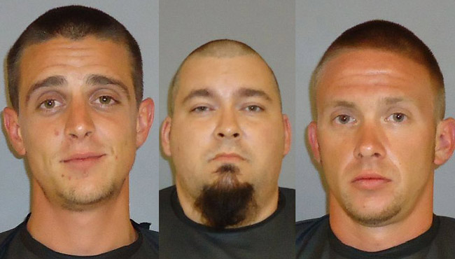 From left, Michael Griffin, John Chandler and Steve Janvrin, accused of grand theft auto. (FCSO)