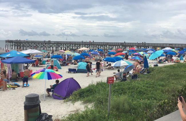Not quite Flagler Beach: tghe gathering at Isle of Palms near Charleston, where Chief Bobby Pace witnessed the eclipse. (© Bobby Pace for FlaglerLive)