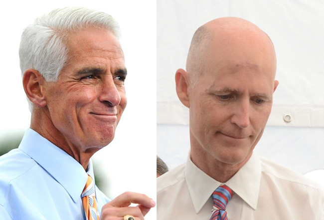 It's a small edge, but Charlie Crist has reason to smile. (Facebook and c