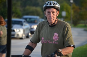 County Commissioner Charlie Ericksen has logged enough miles on his bike in his years in Palm Coast to have nearly circumnavigated the globe. His eyes are on city and county roads almost daily. (© FlaglerLive)