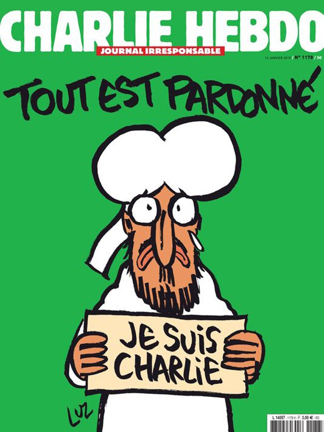 The cover of Charlie Hebdo's new issue, which will be published Wednesday with a print run of 3 million, and in 16 languages.
