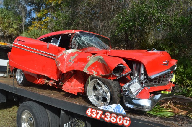 The Chevy after it was pulled out of the woods. Click on the image for larger view. (© FlaglerLive)