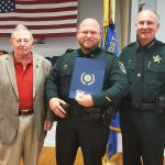 Flagler County Sheriff's deputy Austin Chewning received the American Legion Post 115's Officer of the Year award. Commander David Hammond of the American Legion presented the award earlier this week, along with a donation to Sheriff Rick Staly for the for the Flagler Sheriff's Employee Assistance Trust, which provide assistance to sheriff's employees and their families during a personal crisis. Chewning was the agency's own Deputy of the Year in January, an award he received at the banquest fund-raiser for the trust. (FCSO)