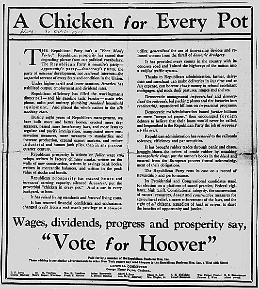 herbert hoover a chicken in every pot campaign ad