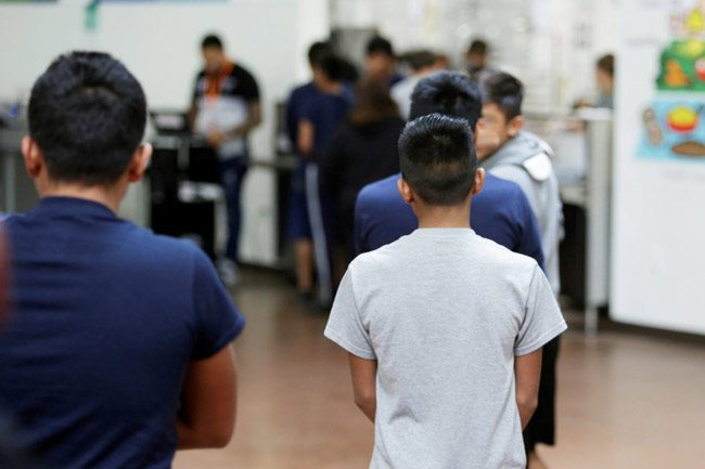 A photo provided by the U.S. Department of Health and Human Services shows immigrant children inside Casa Padre on June 14.