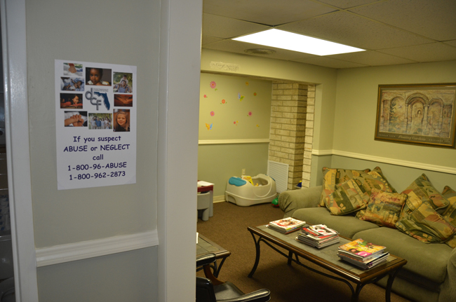 A waiting room at the Children's Advocacy Center's then-new space in Bunnell. The center had pledged it would provide forensic exams for rape victims, only to break its pledge. The service will now be provided by the Family Life Center at its facilities. (© FlaglerLive)