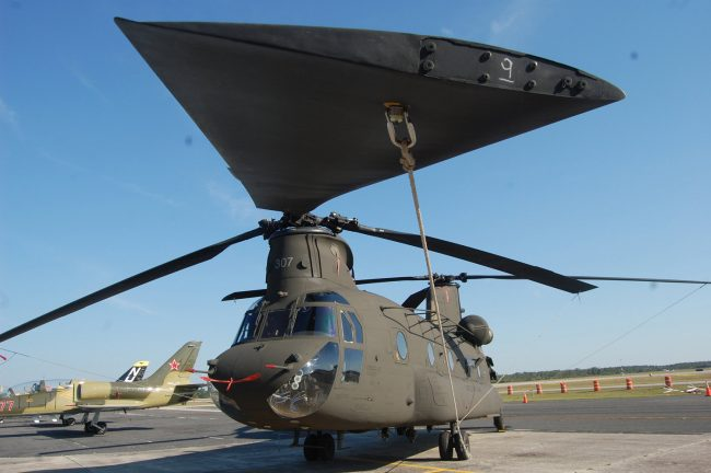 A CH-47 Chinook when it was at the Flagler Airport in 2011. Click on the image for larger view. (© FlaglerLive)