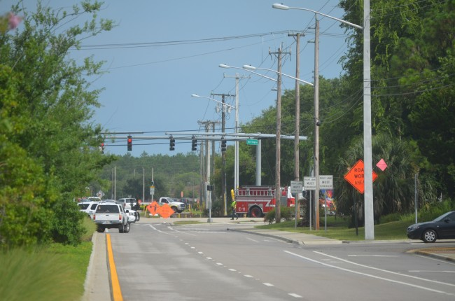 Old Kings Road toward SR100 was closed as a result of the chlorine spill. (c FlaglerLive)