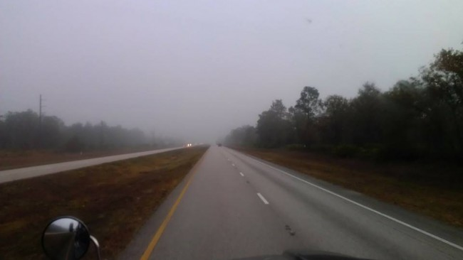 The view from Chris McEuen's truck, in a picture he took of the fog on Fog on U.S. 301 and posted at his Facebook page on Dec. 4. Click on the image for larger view.