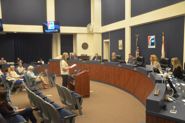 Kristi Furnari was among the 11 parents who addressed the Flagler County School Board last Tuesday regarding a reorganization affecting special education students. (© FlaglerLive)