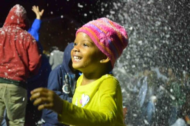 Her expression said it all: a young girl moments after the snow started falling in Bunnell. We did not get her name: if anyone knows it, please email it to us. (c FlaglerLive)