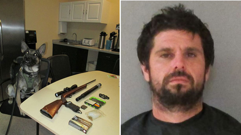 Christopher Raymond and the weaponry found in his truck, with K-9 Axel. (FCSO)