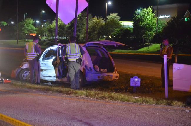 The Chrysler was struck on its driver's side. (© FlaglerLive)