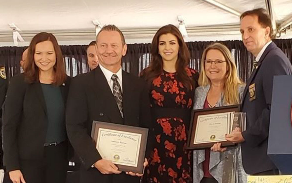 Florida Attorney General Ashley Moody, Anthony Butrym, First Lady Casey DeSantis, Dawn Butrym, And Florida Department of Law Enforcement Commissioner Richard Swearingen.