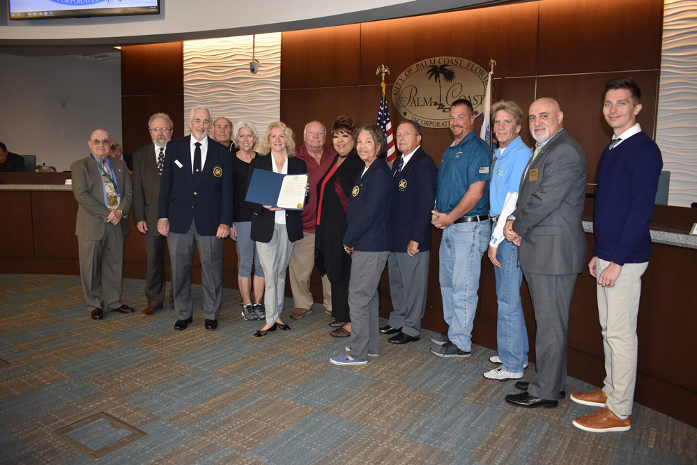 The Palm Coast City Council and members of the Palm Coast Yacht Club on Nov. 19 marking the city's proclamation of Dec. 7 as Holiday Boat Parade Day.