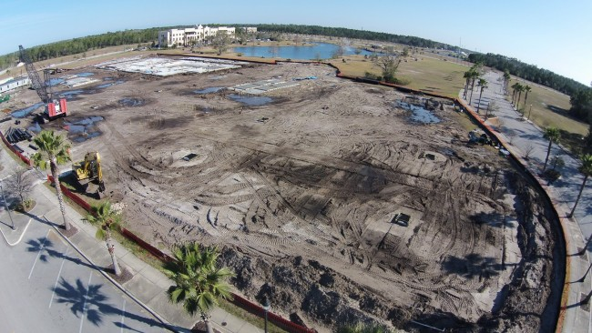 The CAVU drone's view of the work site at Palm Coast's future City Hall in Town Center. Click on the image for larger view. (© CAVU for FlaglerLive)