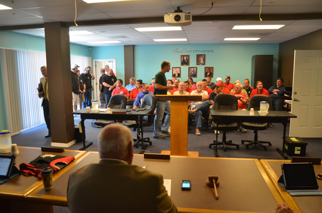 Mayor Jon Netts and the rest of the Palm Coast City Council (minus Bill Lewis) saw red this morning as they heard arguments and deliberated over a contract with the city's firefighters union. (c FlaglerLive)