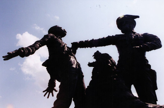 Detail from a sculpture outside the Civil Rights Museum in Birmingham, Alabama. (© FlaglerLive)