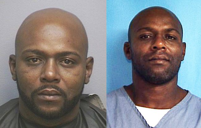 Clarence Murphy in a Flagler County jail booking photo, left, from 2016, and in his last Florida prison photo.