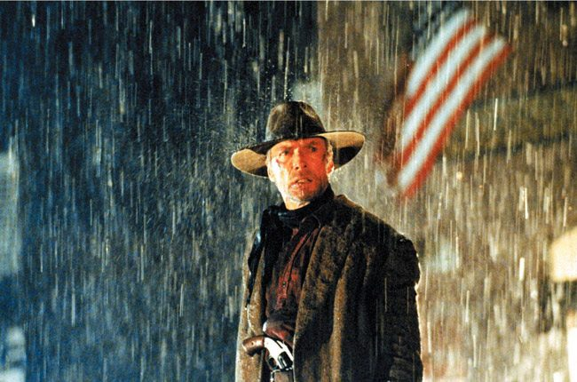 Clint Eastwood, who turns 87 today, in 'Unforgiven,' his 1992 movie for which he won four Oscars, including Best Picture and Best Director. On May 20 he marked the 25th anniversary of the movie at the Cannes Film Festival. 'I always thought this would be a good last western for me to do,' the soon-to-be 87-year-old told the crowd, 'and it was the last western, because I've never read one that worked as well as this one since then. But who knows. Maybe something will come up in the near future.' Eastwood has yet to be forgiven for his chair stint at the GOP National Convention in 2012, when he pretended to be talking to President Obama.