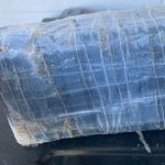 The package of cocaine found bobbing in the surf at the north end of Flagler County. (FCSO)