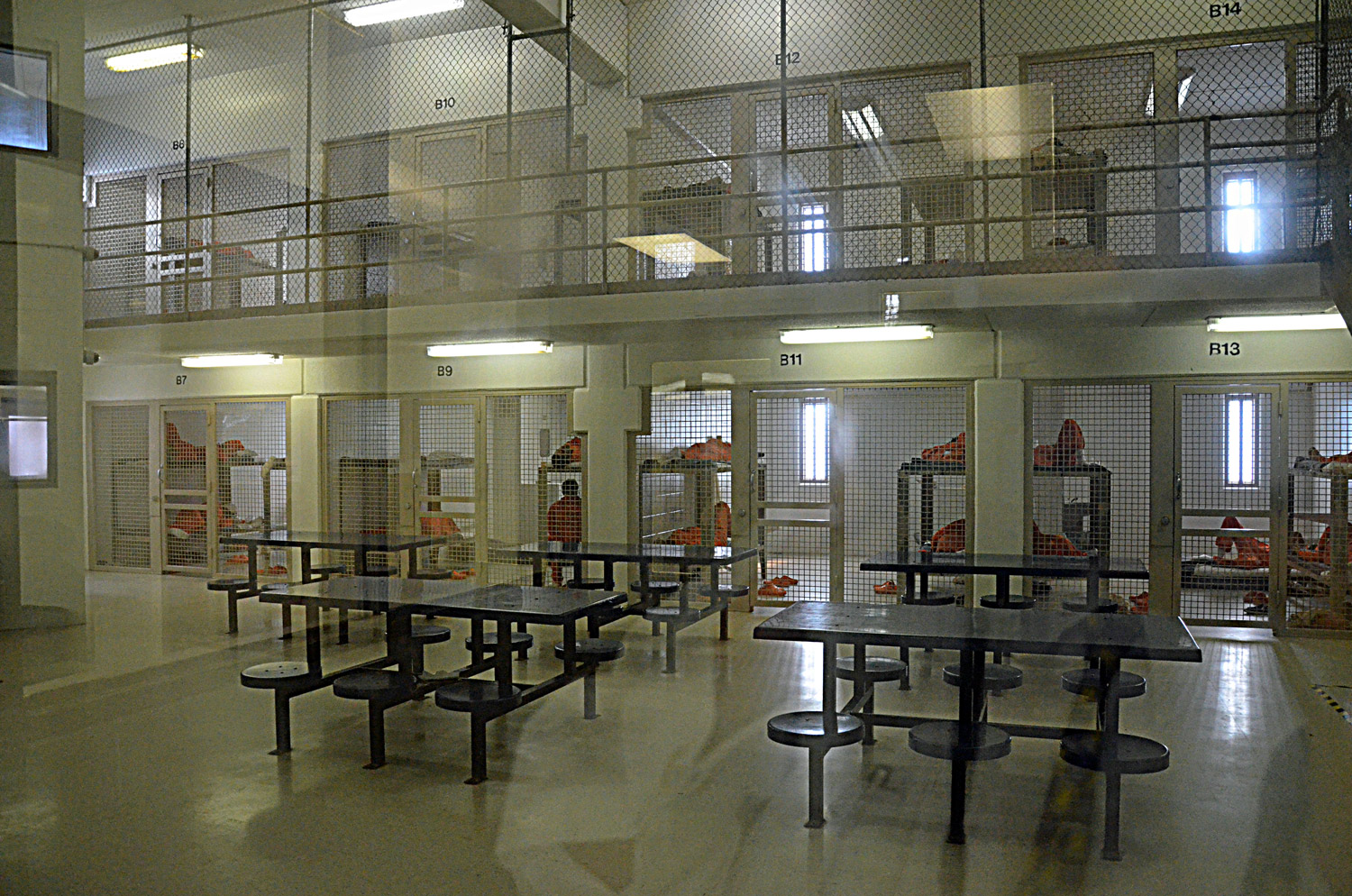Not much coddling here. Felony jail inmates on lock-down, because they