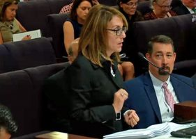 Coffey was not smiling when Lori Killinger, a representative of the short-term renters' association, spoke. (© FlaglerLive via Florida Channel)
