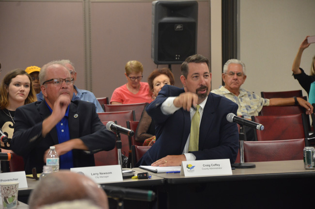 "Changing track: Flagler County Administrator Craig Coffey is urging county commissioners and the Flagler Beach City Commission to change course, abandon a long-studied plan to 'renourish"" beaches, and adopt a more state and local p[lan to rebuild dunes. (c FlaglerLive)"