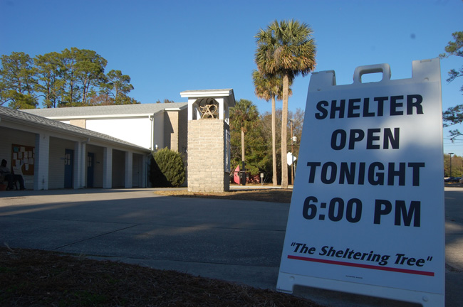 The Sheltering Tree's cold weather shelter has operated for 11 years at Bunnell's United Methodist Church on Pine Street, opening on nights when the temperature falls below 40 degrees. (c FlaglerLive)