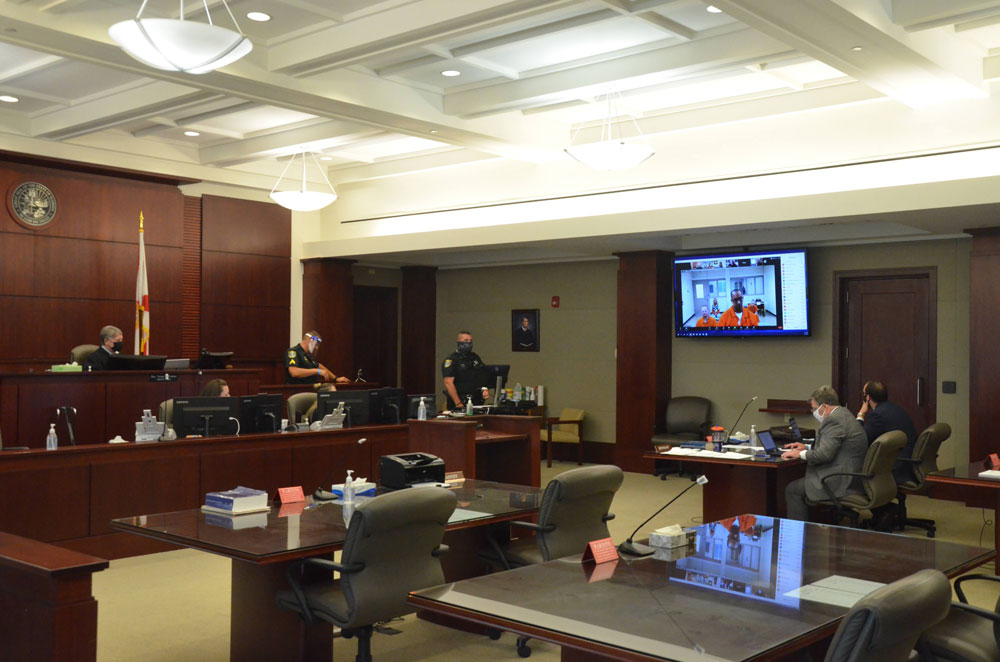 The Colon hearing this afternoon before Circuit Judge Terence Perkins. (© FlaglerLive)