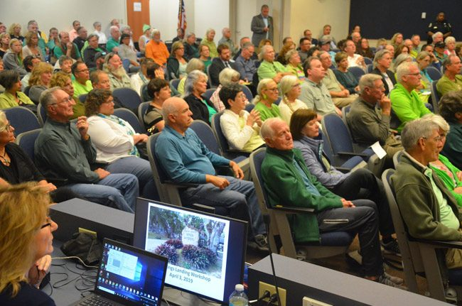 The meeting on Captain's BBQ at Bing's Landing drew a full house at the commission meeting this morning. (© FlaglerLive)
