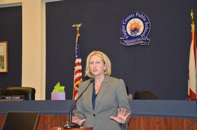Commissioner Pam Stewart, during a visit to Flagler in 2012. (© FlaglerLive)