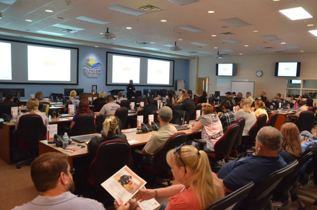 Flagler County's Emergency Operations Center hosted the two-day training conference, which was attended by 63 people and opened with welcoming remarks by Sheriff Rick Staly. (© FlaglerLive)