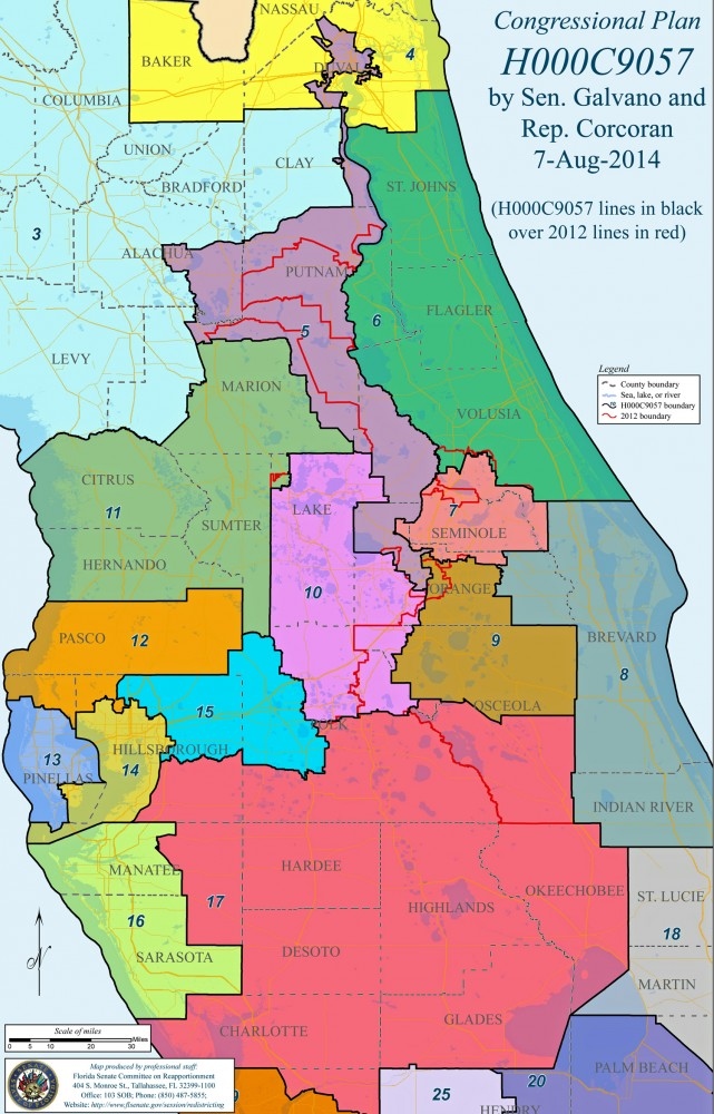 The new congressional districts in Northeast Florida, including District 6, which includes all of Flagler County, but has lost much of Putnam County. Click on the image for larger view. (© FlaglerLive)