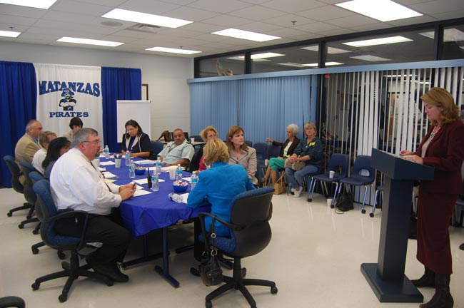 Colleen Conklin addressing the Mockingbird committee at Matanzas Monday morning. (FlaglerLive)