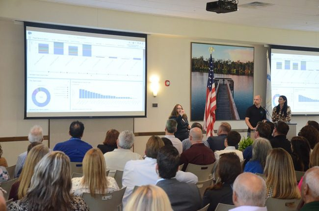 The audience at April's State of the City with Mayor Milissa Holland got its first look at Palm Coast Connect, the new citizens' engagement portal for the city. (c FlaglerLive)