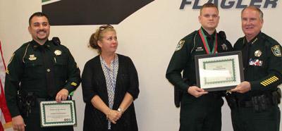 Frpm left, Corporal Joe Barile, Iris Sciandra, Deputy Phil Conway, and Sheriff Staly. (FCSO)