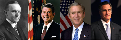 calvin coolidge, ronald reagan george bush mitt romney economics