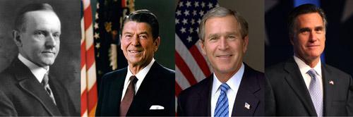 calvin coolidge, ronald reagan george bush mitt romney economics