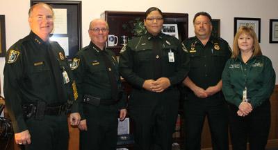 From left, Undersheriff Rick Staly, Sheriff James L. Manfre, Deputy Lauren Gadson, Sr. Commander Sam Ferris and Detention Services Director Becky Quintieri.